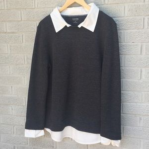 Calvin Klein Gray Sweater With Faux Collared Shirt